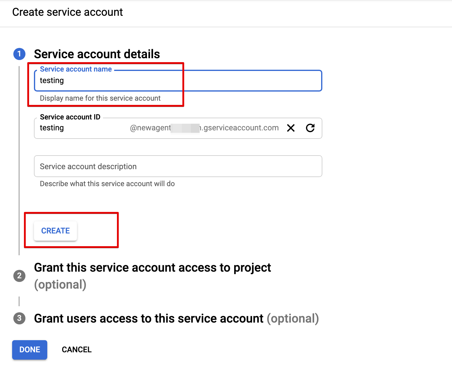 Fill in service account details