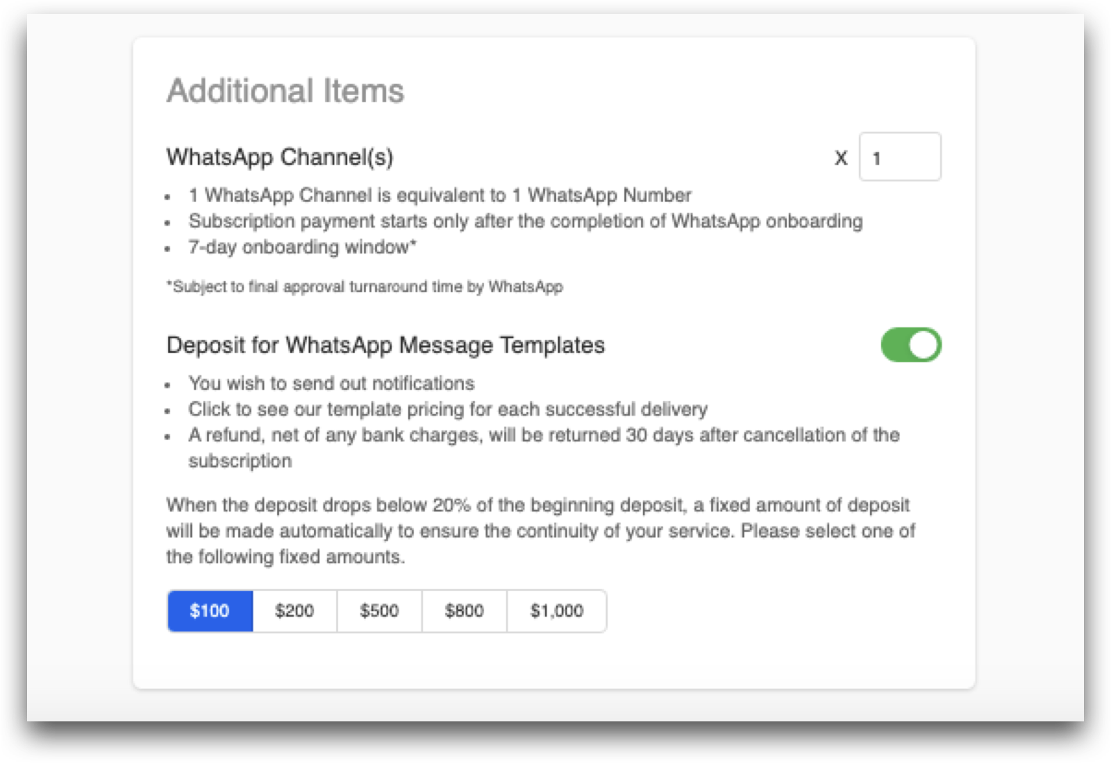 Indicate the number of WhatsApp channel & choose the WhatsApp Template Message deposit amount