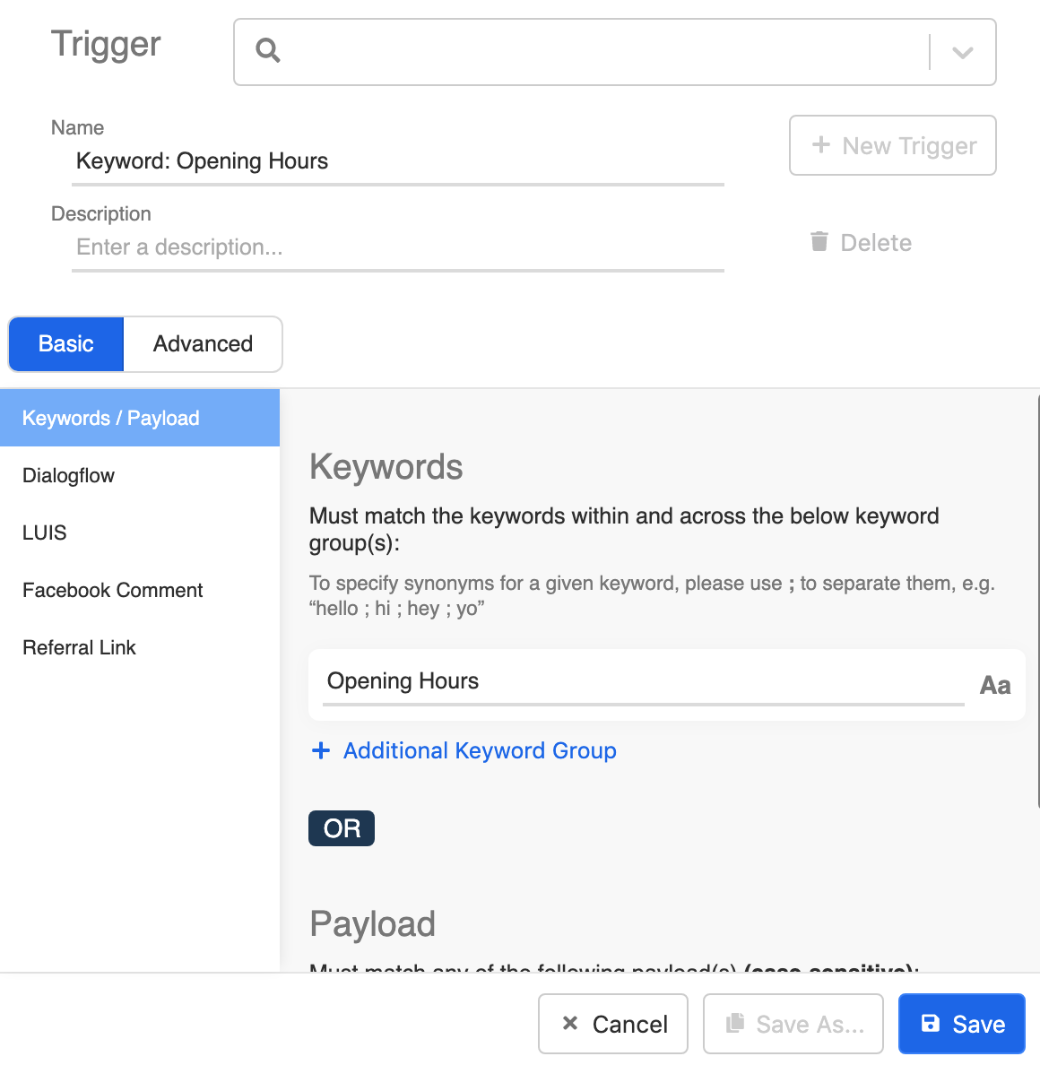 Create opening hours keyword trigger