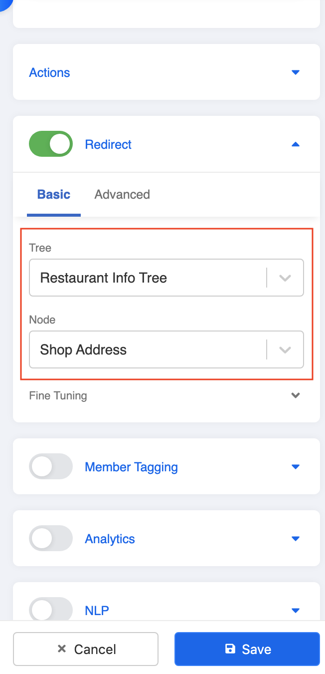 Redirect to normal shop address tree node