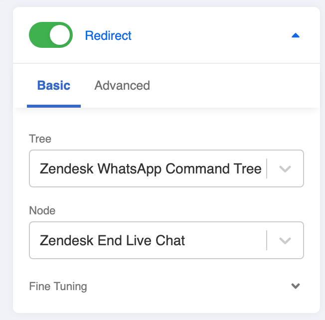 Redirect to Zendesk Done Command Tree Node